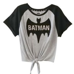 NWT Batman Two-way Sequined Front Tie Tee